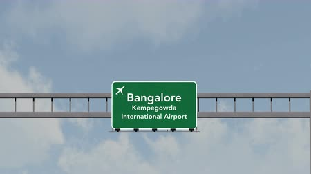 bangalore : 4K Passing under Bangalore India Airport Highway Sign with Matte 3D Animation Cinema 4K 4096x2304 ultra high definition