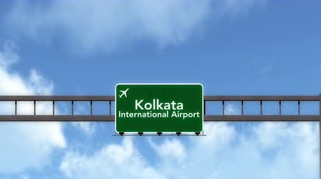 kolkata : 4K Passing under Kolkata India Airport Highway Sign with Matte 3D Animation Cinema 4K 4096x2304 ultra high definition