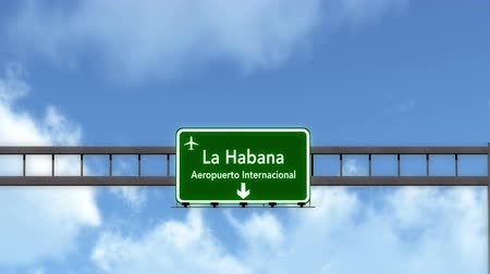 kuba : 4K Passing under Havana Cuba Jose Marti Airport Highway Sign with Matte 3D Animation Cinema 4K 4096x2304 ultra high definition