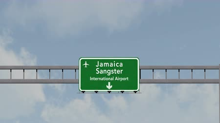 jamaica : 4K Passing under Montego Bay Sangster Jamaica Airport Highway Sign with Matte 3D Animation Cinema 4K 4096x2304 ultra high definition