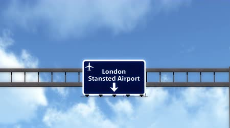 otoyol : 4K Passing under London Stansted United Kingdom England Airport Highway Sign with Matte 3D Animation Cinema 4K 4096x2304 ultra high definition