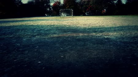 zift : 4K Abandoned Beach Football Handball Field in a Cold Autumn Day