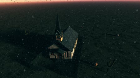 building heat : Old Wooden Christian Chapel in a Desert 3D Animation