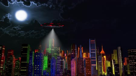sciencefiction : 4K UFO over Modern Vivid Color City Night 3D Animatie Cinema 4K 4096x2304 ultra high definition Stockvideo