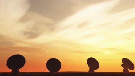 parabola antenna : 4K Radioantenna Observatory Dishes in the Sunset Sunrise 4