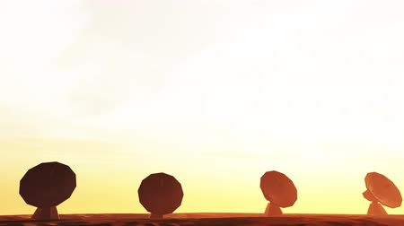 parabola antenna : 4K Radioantenna Observatory Dishes in the Sunset Sunrise 5