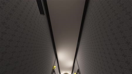 прихожая : 4K Fancy Hotel Corridor Surrealistic View Extreme Wide Lens Tilt Down