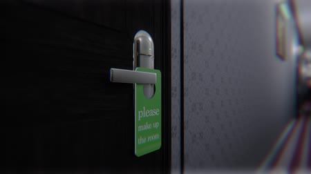 puertas : Make Up Room Hotel Door Sign Cinematic Motion Animación 3D Archivo de Video