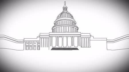 kongres : 4K US Capitol Building in Washington DC handdrawn Minimal Design Animation