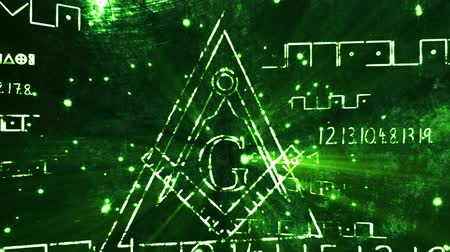 тайна : 4K Revealing The Free Masonic Grand Lodge Sign and Illuminati Secret Characters in an Abstract Drawing Grungy Design