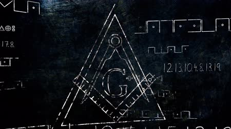 onthullen : 4K Revealing The Free Vrijmetselaars Grand Lodge Registreren en Illuminati Secret Characters in een Abstracte Tekening grungy ontwerp