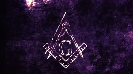 masonic : 4K Revealing The Free Masonic Grand Lodge Sign in an Abstract Drawing Grungy Design Stock Footage