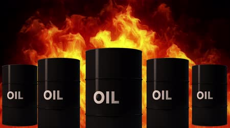 barril : 4K Oil Barrel in Raging Fire Oil Price Crisis Concept 3D Animation