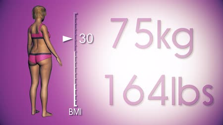 com escamas : 4K Simulation of a Fat Woman Losing Body Weight and BMI Index 3D Animation on a Purple Background Stock Footage