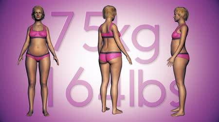 perda de peso : 4K Simulation of a Fat Woman Losing Body Weight and BMI Index 3D Animation on a Purple Background Stock Footage