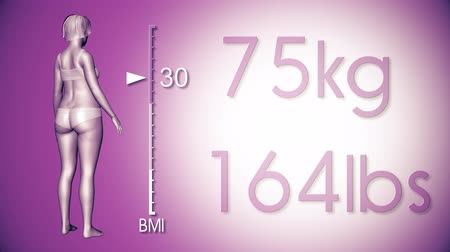 kaybediyor : 4K Simulation of a Fat Woman Losing Body Weight and BMI Index 3D Animation on a Purple Background Stok Video