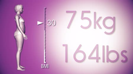 emagrecimento : 4K Simulation of a Fat Woman Losing Body Weight and BMI Index 3D Animation on a Purple Background Vídeos