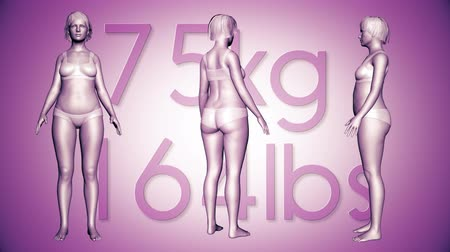 tłuszcz : 4K Simulation of a Fat Woman Losing Body Weight and BMI Index 3D Animation on a Purple Background Wideo