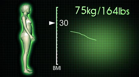 fogyás : 4K Simulation of a Fat Woman Losing Body Weight and BMI Index Computer X-Ray Screen Design 3D Animation Stock mozgókép