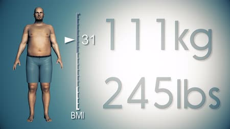 fogyás : 4K Simulation of an Obese Man Losing Body Weight and BMI Index 3D Animation on Pale Blue Background