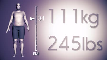 индекс : 4K Simulation of an Obese Man Losing Body Weight and BMI Index 3D Animation on Pale Purple Background