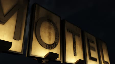 abandoned old : Old Grungy Motel Sign Closeup at Night 3D Animation