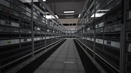 merkez : Data Center Server Room Rendefarm Hi-Tech Cluster Storage System FullHD 3D Animation with Cinematic Camera Motion