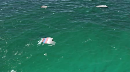 crashed : 4K Aerial of Crashed Airplane Wrecks Floating on Ocean Cinematic 3D Animation