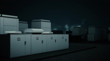 kapasite : 4K NAS Battery Park Energy Storage Station at Night Photorealistic 3D Animation Stok Video