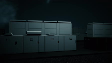 kükürt : 4K NAS Battery Park Energy Storage Station at Night Photorealistic 3D Animation Stok Video