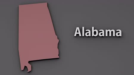 alabama : Alabama USA State Shape and Title Minimal Design with Luma Matte included 4K 3D Animation Stock Footage