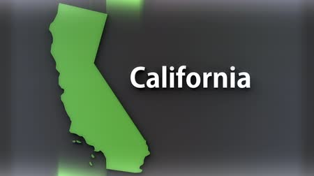 north america : California USA State Shape and Title Minimal Design with Luma Matte included 4K 3D Animation Stock Footage