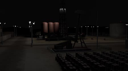 pumping : Oil Pumping Station and Factory at Night 3D Animation 5