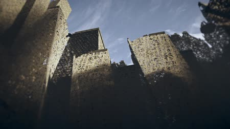 devastated : Post Apocalyptic Demolished City Grungy Design Stock Footage
