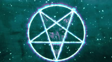 diabolo : 4K Pentagram Symbol with Revealing Satan Face 10 Stock Footage