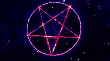 diabolo : 4K Pentagram Symbol with Revealing Satan Face v2 6 Stock Footage