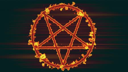 bálvány : 4K Pentagram on Fire Magic Symbol 3D Animation 2