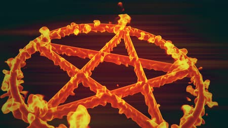 diabolo : 4K Pentagram on Fire Magic Symbol 3D Animation 6 Stock Footage