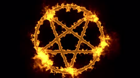 diabolo : 4K Pentagram on Fire Magic Symbol with Matte 3D Animation 1