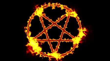 bálvány : 4K Pentagram on Fire Magic Symbol with Matte 3D Animation 2 Stock mozgókép