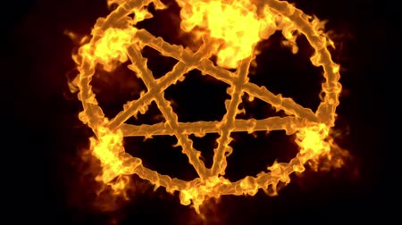 diabolo : 4K Pentagram on Fire Magic Symbol with Matte 3D Animation 3