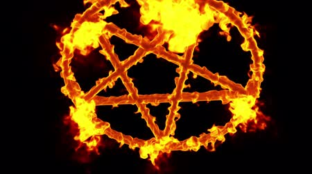 diabolo : 4K Pentagram on Fire Magic Symbol with Matte 3D Animation 4
