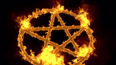 diabolo : 4K Pentagram on Fire Magic Symbol with Matte 3D Animation 5