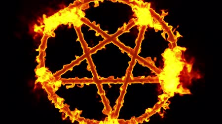 diabolo : 4K Pentagram on Fire Magic Symbol Zoom Out with Matte 3D Animation Stock Footage
