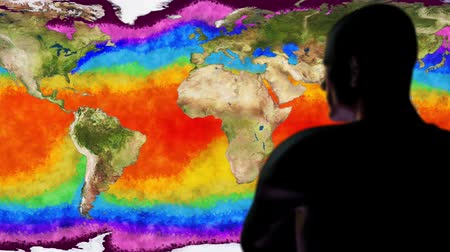 絶滅寸前の : Man Watching Earth Water Surface Global Warming Simulation Cinematic Camera M