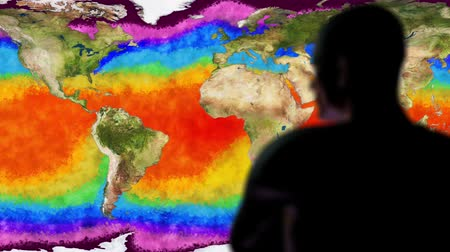 prejudicial : Man Watching Earth Water Surface Global Warming Simulation Cinematic Rack Foc Vídeos
