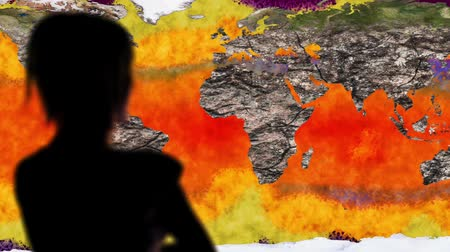 harmful : Woman Watching Death of Earth Global Warming Simulation Cinematic Rack Focus