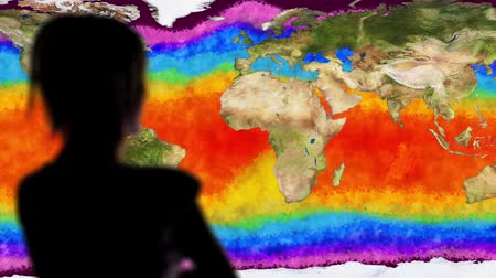 mudança : Woman Watching Earth Water Surface Global Warming Simulation Cinematic Rack
