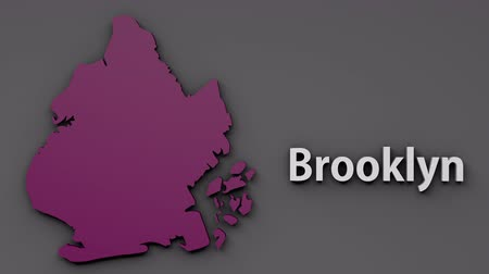 contorno : 4K Brooklyn Map Shape with Matte 3D Animation 1 Stock Footage