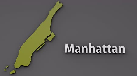estados unidos da américa : 4K Manhattan Map Shape with Matte 3D Animation 1